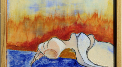 Bather #4 (Fire), 2018. 6 ¼ x 5 7/8 inches. Acrylic, Gauche, Graphite, Pastel on Wood Panel.