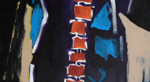 Spine, 2016. 24x48 inches. Oil, Acrylic, Charcoal on Canvas.